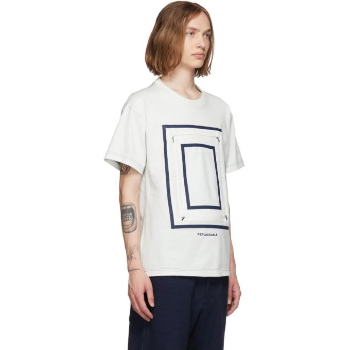 Blanc Fumito Et shirt Cassé 191180m213009 GanryuT Detachable Square Indigo Sku f6bg7y